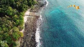 航拍大海海滩海岛海边森林岸边视频素材