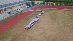学校体育场军训正步走视频素材