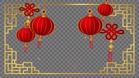 4Kalpha-红灯笼中国结中国元素视频素材包
