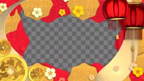 新年新春元素边框祥云灯笼金元宝视频素材包