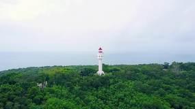 航拍海边灯塔瞭望塔视频素材