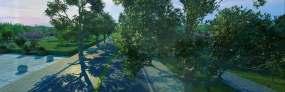 三维晨光跑道晨跑运动骑自行车动画视频素材