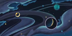 兒童背景神秘宇宙卡通插畫無縫循環視頻素材視頻素材