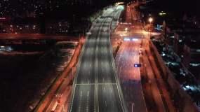 航拍疫情空城濟南二環東路夜景4k視頻素材