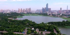 武汉疫情前古琴台琴台大剧院航拍视频视频素材