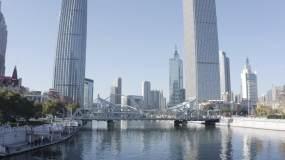 天津航拍天津标志性建筑天津站海河世纪钟视频素材