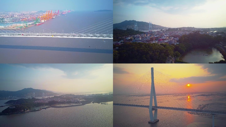 4K航拍跨海大桥海岛日落