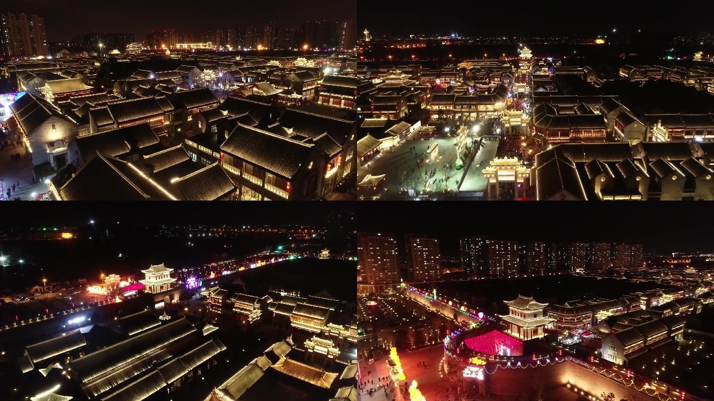 即墨古城夜景灯光航拍2K
