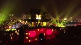 灯光秀即墨古城夜景航拍视频素材