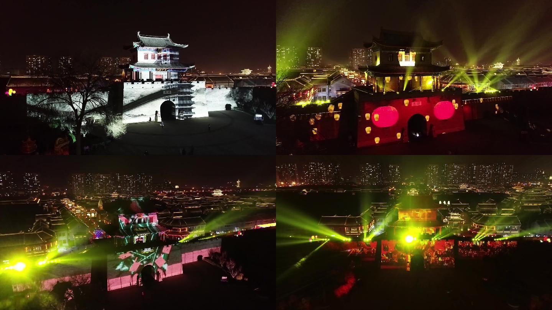 灯光秀即墨古城夜景航拍