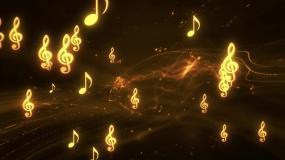 金色音符旋律动感钢琴曲LED舞台背景视频视频素材