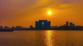 4k酒店延时城市湖面日落黄昏视频素材