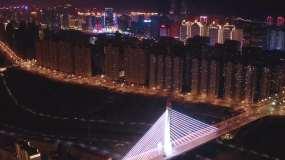青海省西宁市海湖新区通海桥城市夜景航拍视频素材