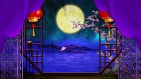 中国风江南月夜舞台背景视频素材