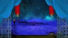 中国风江南蓝色调舞台背景视频素材
