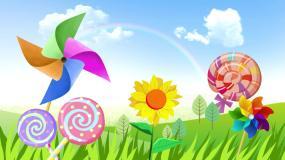 梦幻儿童卡通大风车棒棒糖儿童表演演出背景视频素材