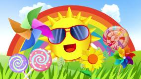 卡通儿童阳光向日葵彩虹风车LED背景视频视频素材