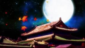 中国风古代古建筑星空月亮LED视频背景视频素材