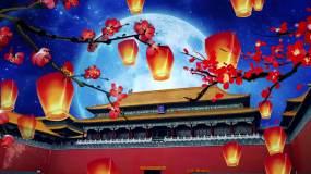 中国风建筑故宫文化梅花孔明灯星空大月亮背视频素材