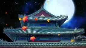 雄伟大气古建筑月亮星空枫叶LED背景视频视频素材