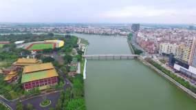 航拍湛江吴川市城市风光视频素材