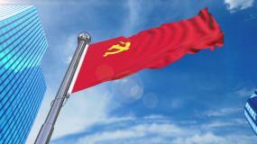 党旗飘扬6组镜头视频素材