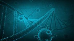 蓝色生物科技感DNA链4K画质视频素材