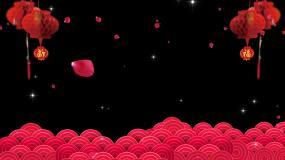 透明边框遮罩玫瑰花瓣祥云灯笼视频素材
