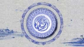 餐桌投影古韵龙凤青花瓷(可定制餐位修改)视频素材