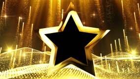 黄金五角星边框总循环视频素材