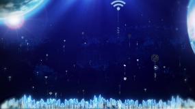 蓝色科技城市地球LED动态背景-循环视频素材