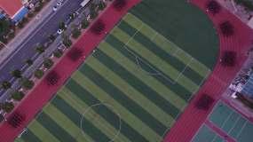 学校跑操航拍视频素材
