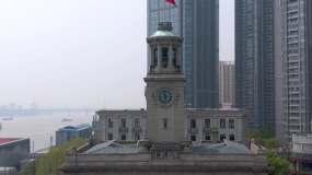 4k-武汉江汉关疫情降半旗哀悼默哀加油视频素材