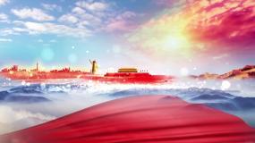 红绸子党政背景循环视频素材