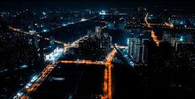 4k航拍城市夜景灯火通明车流延时素材视频素材