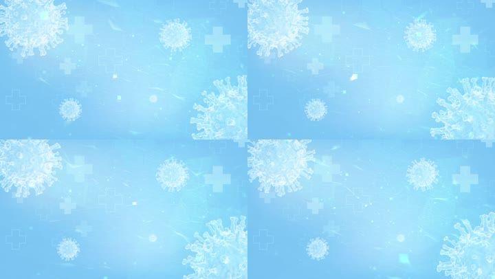 疫情新冠病毒蓝色背景循环LOOP