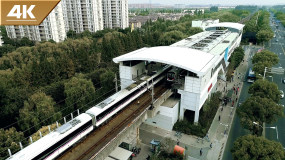 4k高清上海地铁进出站航拍视频素材