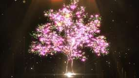 唯美大屏晚会节目粒子大树背景视频素材