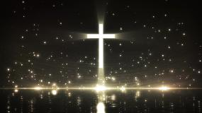 金色唯美十字架粒子灯光秀视频视频素材