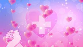 4K愛心護士節主題背景循環視頻素材