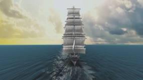 海洋大海扬帆起航帆船扬帆远航视频素材