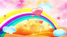 彩虹的约定儿歌配乐舞台背景视频素材