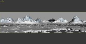 写实南极北极雪山冰山岩石冰面3Dmax