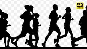 【原创】一群人跑步剪影4K【透明背景】视频素材包