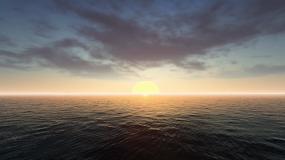 原创4K海上日出延时摄影海上蓝天白云视频视频素材