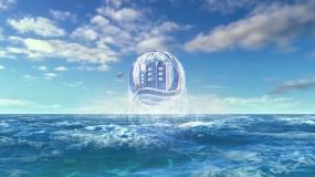 4K大氣震撼藍色海洋升起字幕LOGOAE模板