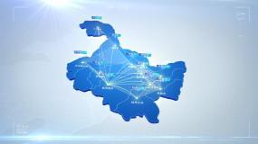 黑龙江省地图区位连线坐标点覆盖视频素材