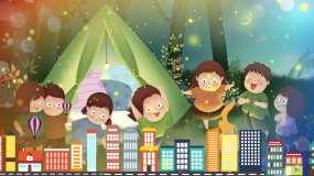 爱朵女孩《祖国的花朵》卡通背景视频素材