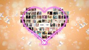 【無插件】愛心匯聚53張照片組合心形AEAE模板