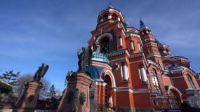 俄罗斯教堂广场鸽子教堂内部十字架视频素材